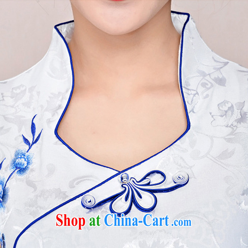 cheongsam dress 2015 New Spring, Summer girl short, cultivating jacquard ice silk and cotton and Stylish retro flower sleeveless dresses 1583 white blue and white porcelain XXL, Xin Wei era, shopping on the Internet