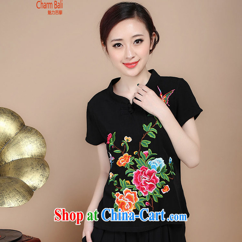 2015 summer edition Korea retro beauty embroidered Chinese short-sleeved round neck with short T-shirt Trouser press kit to sell black T-shirt XXL