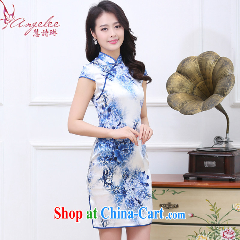 Emily poem Lin summer 2012 new traditions the Lao Tang with improved blue and white porcelain China wind cultivating Silk Cheongsam daily standard sauna Silk Dresses blue and white porcelain XXL