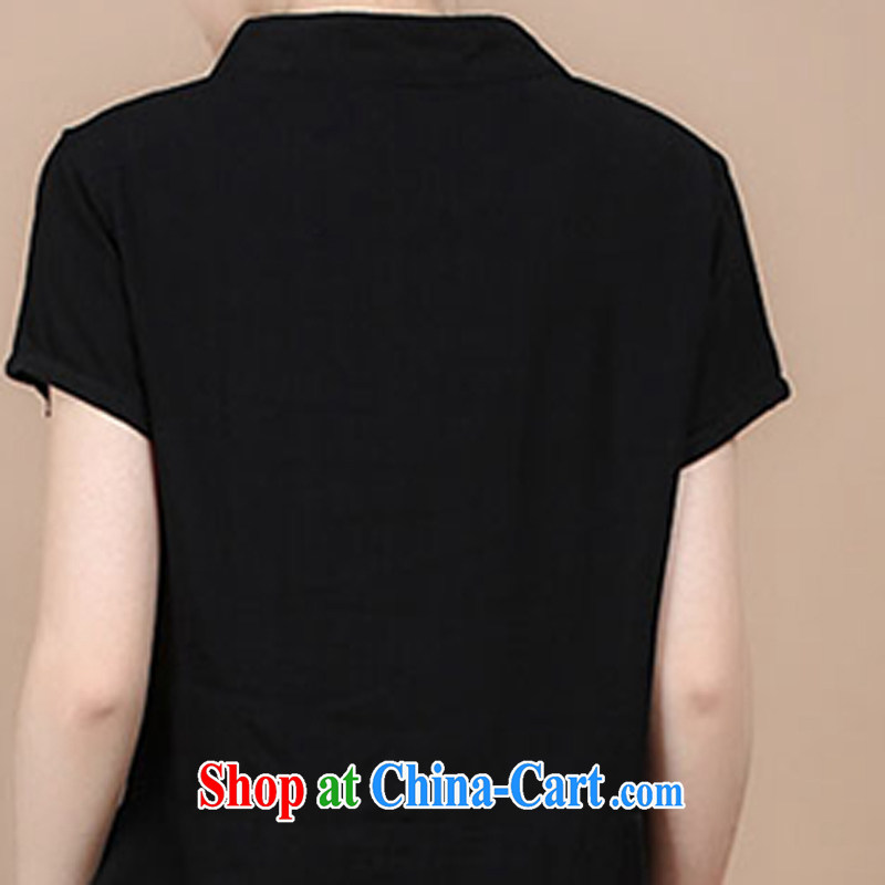2015 summer edition Korea retro beauty embroidered Chinese short-sleeved round neck with short T-shirt Trouser press kit to sell black T-shirt XL, charm and Barbara (Charm Bali), online shopping