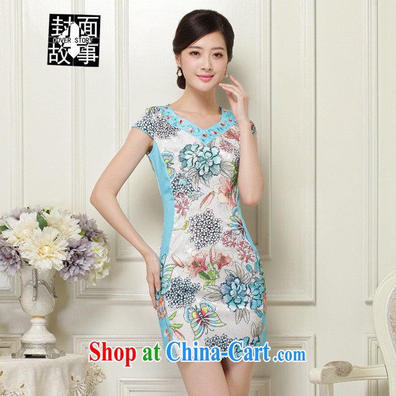 Cover Story summer 2015 new short-sleeve stamp cheongsam dress retro embroidery and decoration, package and dresses female solid blue skirt XXL