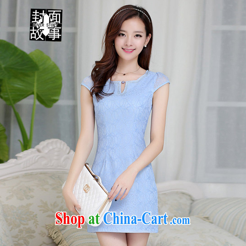 Cover Story 2015 spring and summer new lace-cultivating short-sleeved, qipao dresses the root by snow aura woven bag and a blue skirt XXL