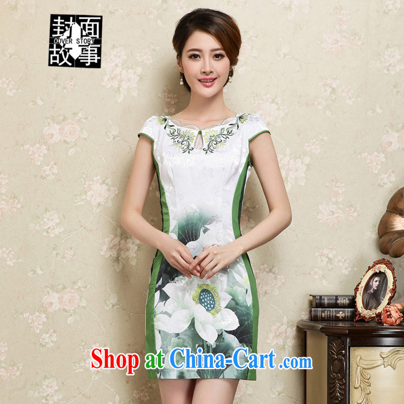 Cover Story 2015 stylish new women dress spring to summer beauty style package and the long, ladies short-sleeved round-collar cheongsam further skirt green XXL