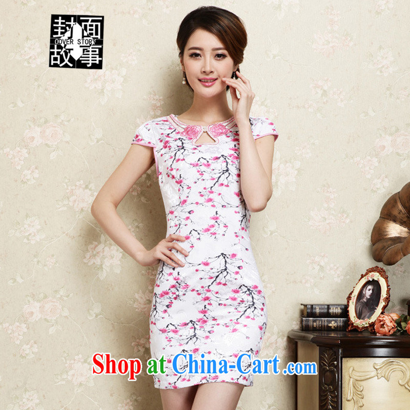 Cover Story summer 2015 new female Ethnic Wind retro embroidery package and cheongsam dress short-sleeved stamp spring dresses girls of red XXL
