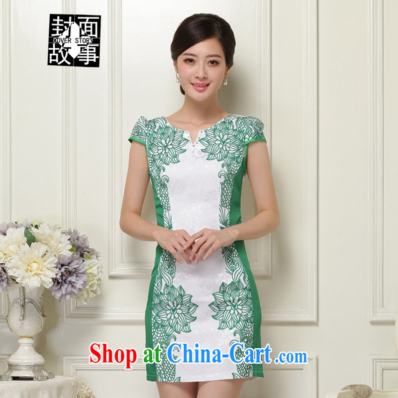 Cover Story 2015 spring and summer new, blue and white porcelain Sau San V collar cheongsam further stamp duty as a solid color A Field short-sleeved dresses female Green XXL