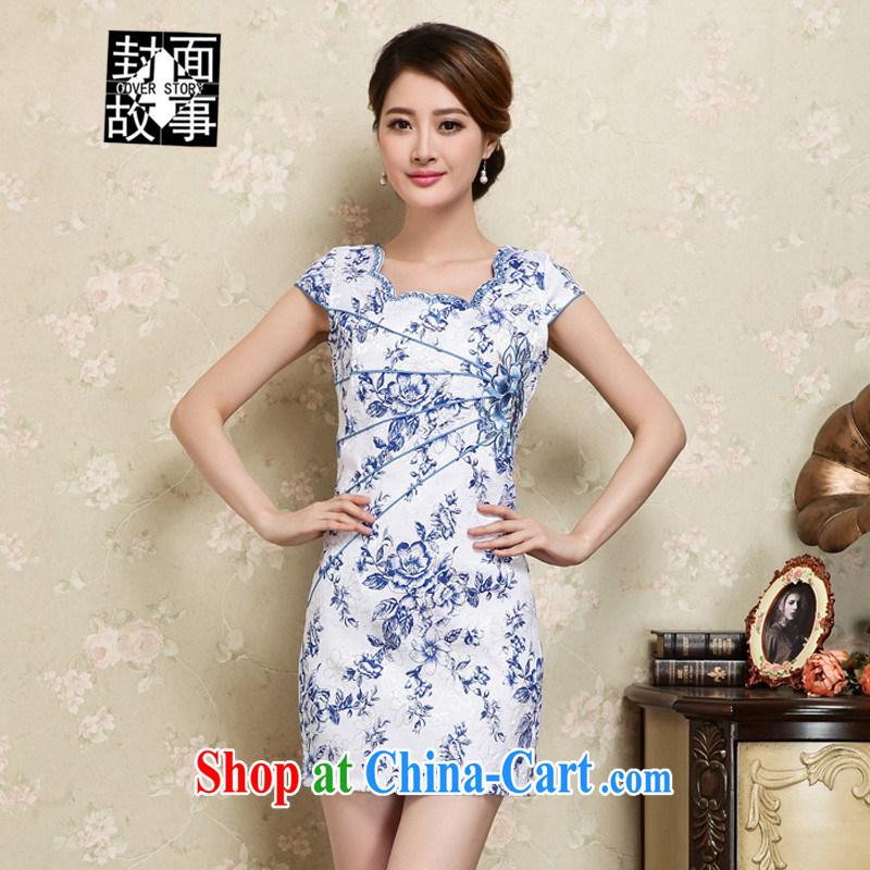 Cover Story 2015 New Spring, Summer girl fresh blue beauty stamp improved stylish retro floral cheongsam dress short-sleeved dresses blue XXL