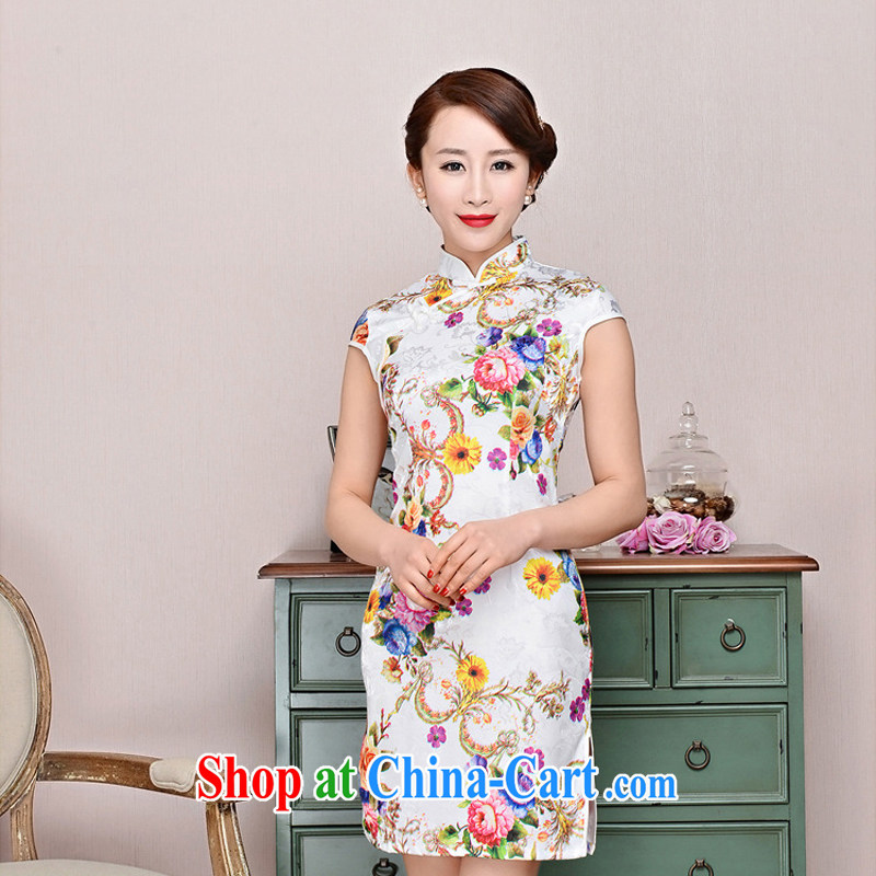 2015 new suit Daily High jacquard cotton robes spring and summer retro fashion beauty dresses dresses women 1580 Peony Wong sunflower flower XXL