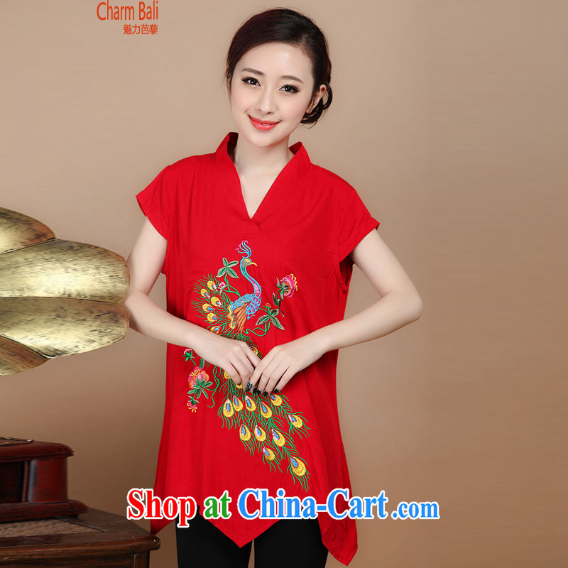 Hip Hop charm and Asia 2015 summer beauty antique embroidered Chinese short-sleeved round neck with short, long, red T-shirt XL