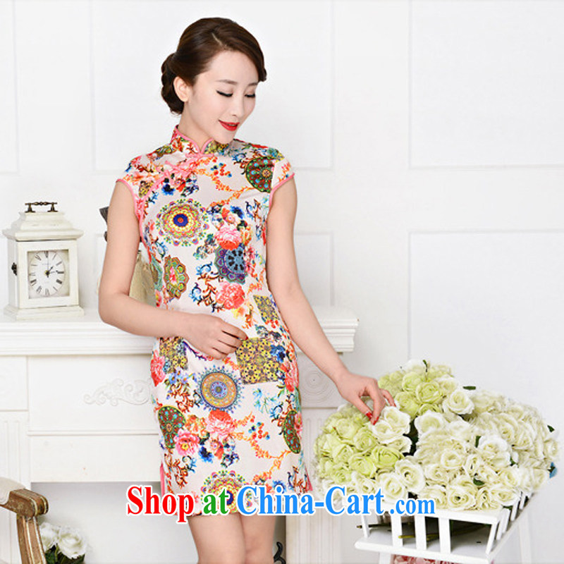 Summer 2015 new improved daily retro dresses beauty graphics thin, fashionable emulation Silk Cheongsam dress 1581 red collar, peony flowers deep red XXL
