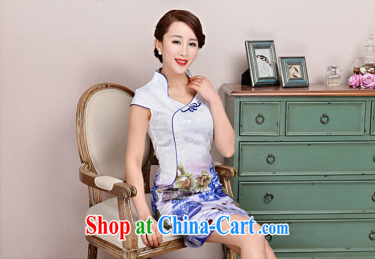 cheongsam dress 2015 New Spring, Summer girl short, cultivating jacquard ice silk and cotton and Stylish retro flower sleeveless dresses 1583 white, small flowers deep red XXL pictures, price, brand platters! Elections are good character, the national distribution, so why buy now enjoy more preferential! Health