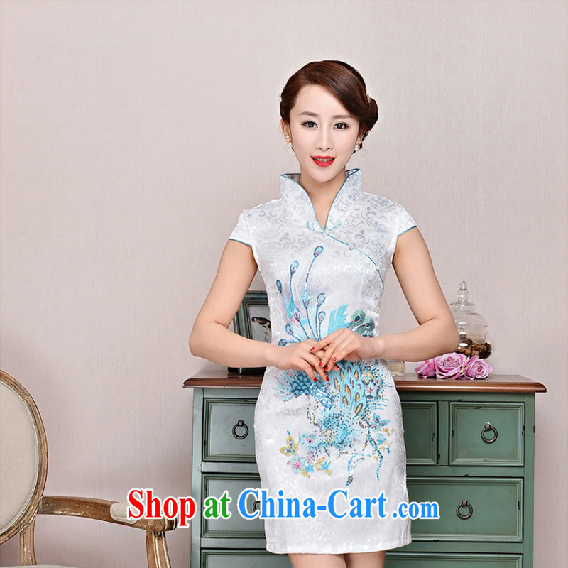 Dresses 2015 new spring and summer with black on white jacquard cotton retro daily improved cheongsam dress style women 1582 black on white Phoenix orchids deep red XXL