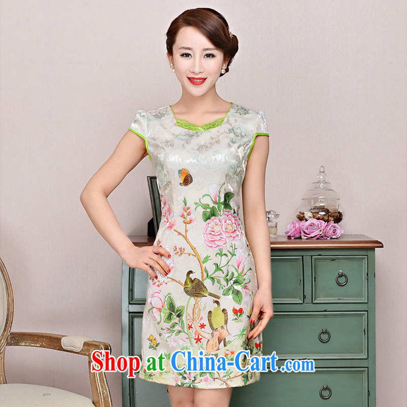 2015 new elegant the flap to take ice silk cotton short cheongsam ethnic wind Tang is a collar dress 1585 pink peony flowers deep red XXL
