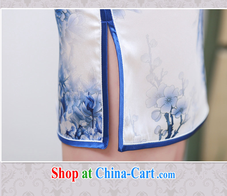 Silent Spring blue and white porcelain Silk Cheongsam dress 2015 new improved stylish beauty daily short retro dresses ethnic wind 3358 blue and white porcelain XXL pictures, price, brand platters! Elections are good character, the national distribution, so why buy now enjoy more preferential! Health