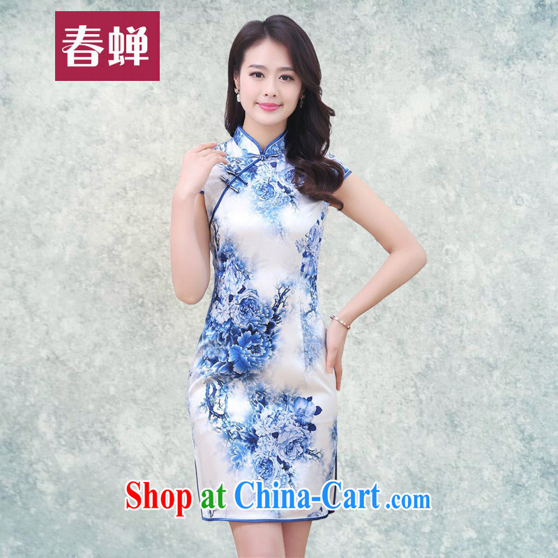 Silent Spring blue and white porcelain Silk Cheongsam dress 2015 new improved stylish beauty daily short retro dresses ethnic wind 3358 blue and white porcelain XXL