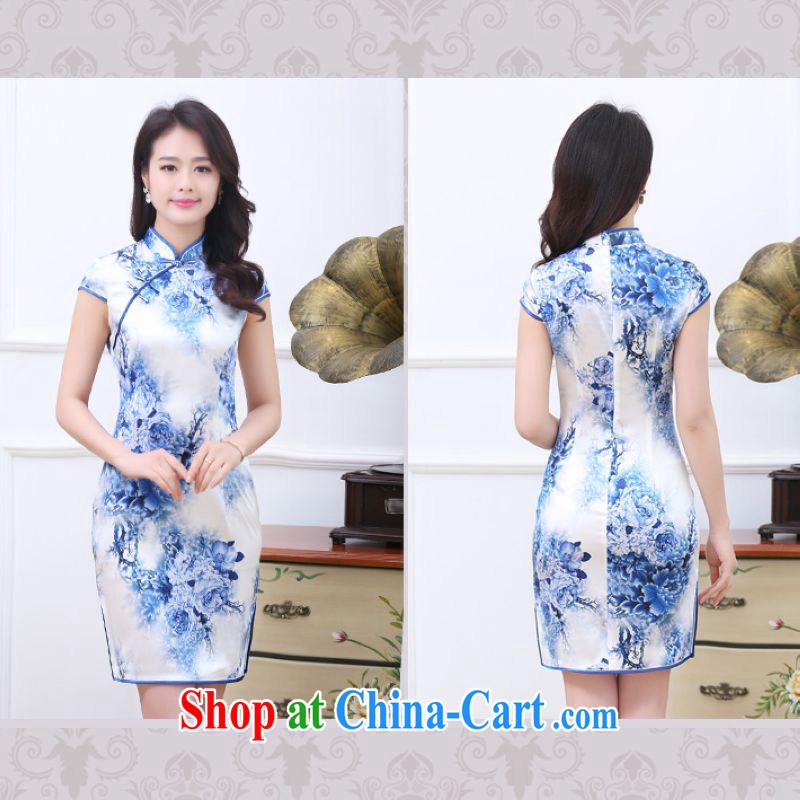 Silent Spring blue and white porcelain Silk Cheongsam dress 2015 new improved stylish beauty daily short retro dresses ethnic wind 3358 blue and white porcelain XXL, cicada, shopping on the Internet