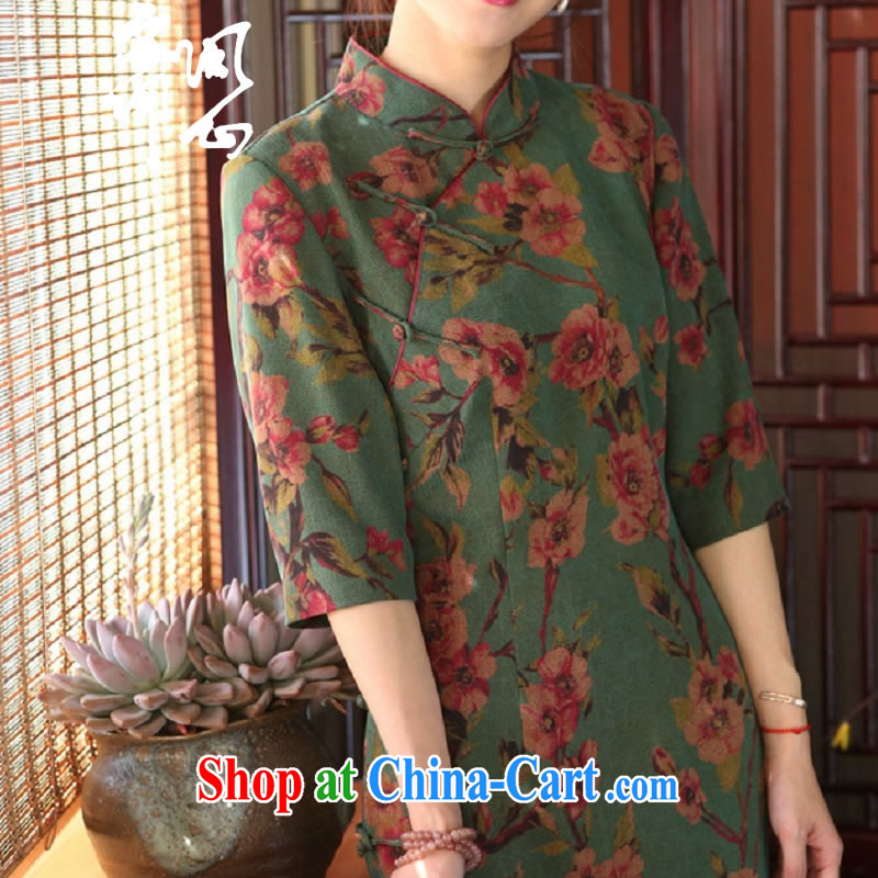 q heart Id al-Fitr (Yue heart health female new summer classic atmosphere fragrant cloud yarn dresses Classic tray snaps cheongsam 1913 green bottom saffron manual customization,