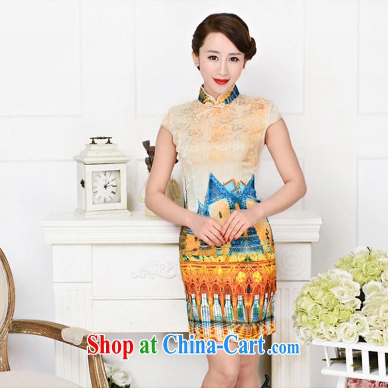 Arrogant season 2015 new spring and summer jacquard cotton Ms. aura beauty retro daily improved cheongsam dress White Palace figure XXL