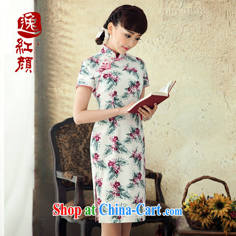 once and for all, proverbial hero film 2015 new stamp duty cotton the cheongsam improved Stylish spring and summer dresses retro dresses white L