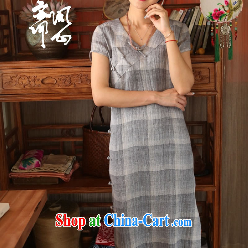 q heart Id al-Fitr _Yue heart health female summer new tartan fabric shading cheongsam Chinese-tie arts cheongsam 1917 water blue manual customization,