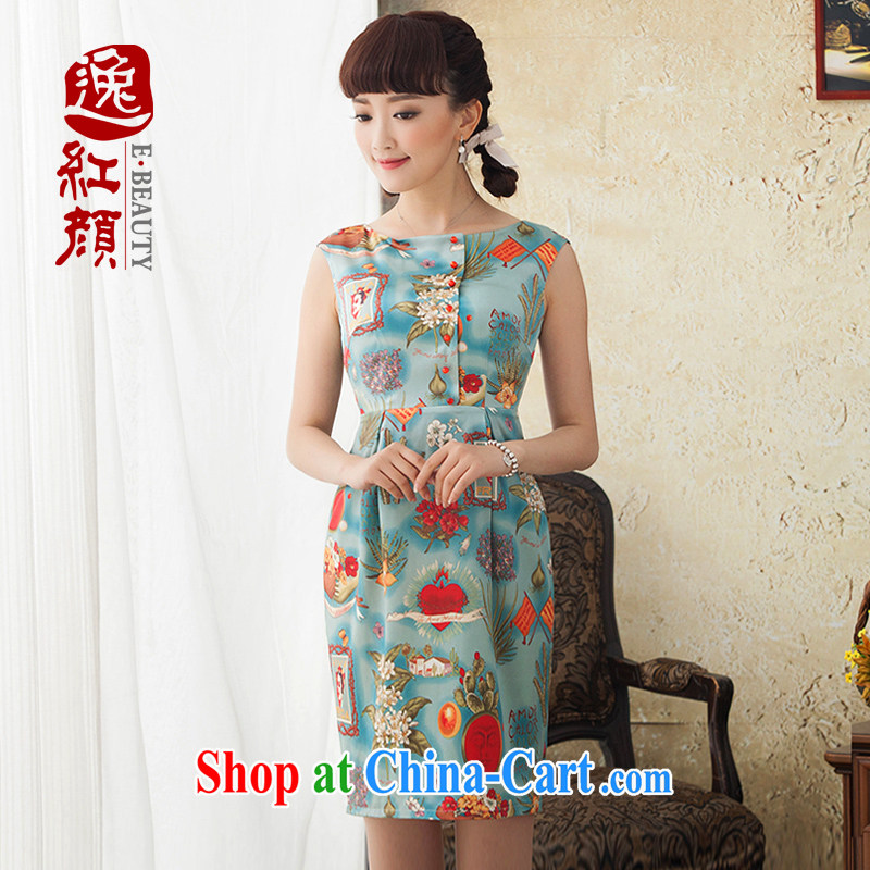 Once the proverbial hero cycle Silk Cheongsam stamp duty short improved 2015 new dresses spring and summer retro dresses blue M