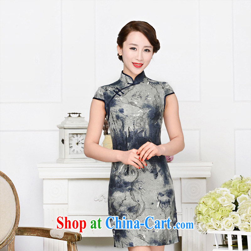 Arrogant season 2015 spring and summer new cheongsam dress retro and stylish upscale retro improved silk short qipao cheongsam dress beige and navy suits XXL