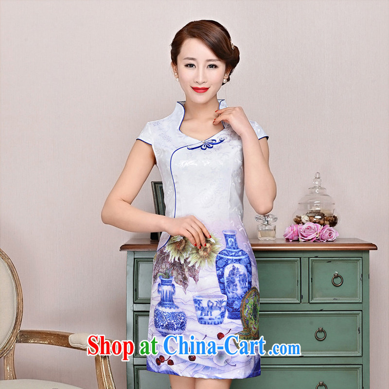 Arrogant season 2015 new retro dresses improved daily silk sexy beauty cheongsam dress short dress white blue and white porcelain XXL