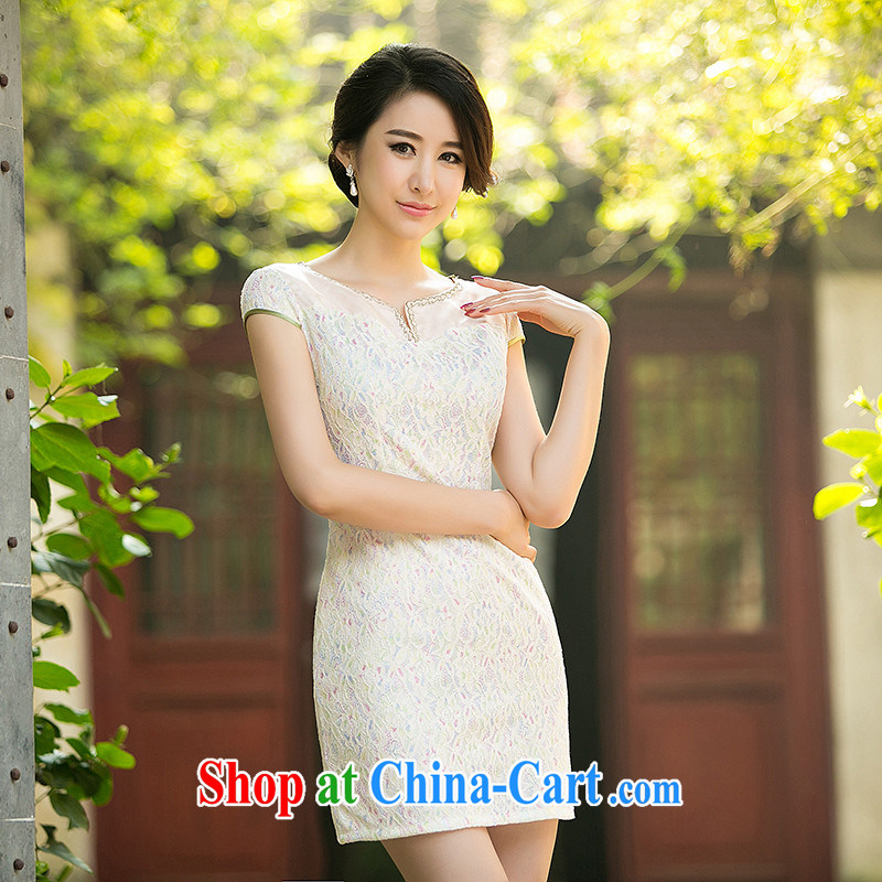 The cross-sectoral land Elizabeth Xuan new daily improved cheongsam dress flouncing lace cheongsam dress dress ZA L 029 light yellow 2XL
