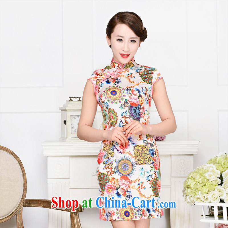Arrogant season summer 2015 New Silk Cheongsam dress retro fashion improved daily cheongsam dress beauty sexy outfit and pink package article for peony flowers XXL