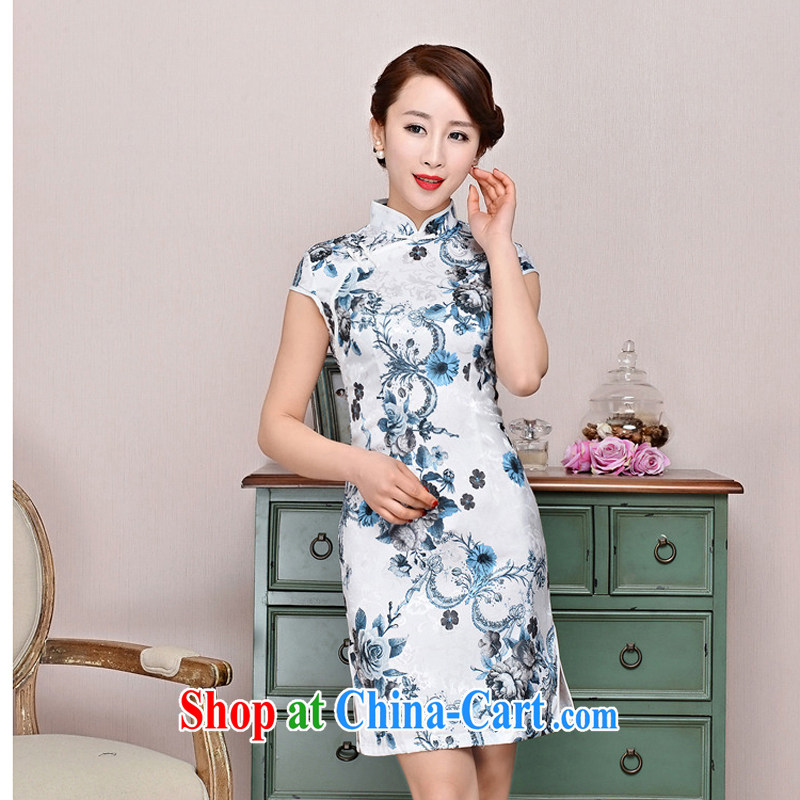 Arrogant season improved fashion cheongsam dress 2015 new summer lady short, cultivating daily cheongsam dress elegance, white Peony bamboo flower XXL