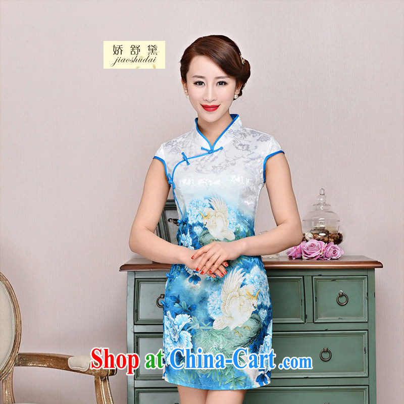 Air Shu Diane 2015 summer new cheongsam dress stylish improved retro Silk Cheongsam daily short beauty dress girls summer 1588 blue collar, small bird figure suit XL