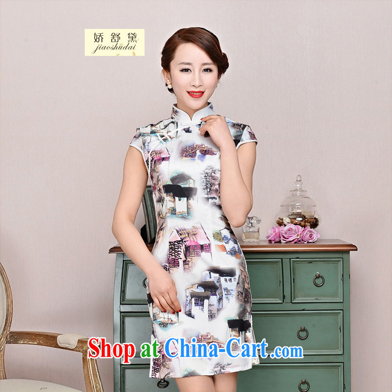 Air Shu Diane summer 2015 new improved daily retro dresses beauty graphics thin, fashionable emulation Silk Cheongsam dress 1581 white package for landscape XXL
