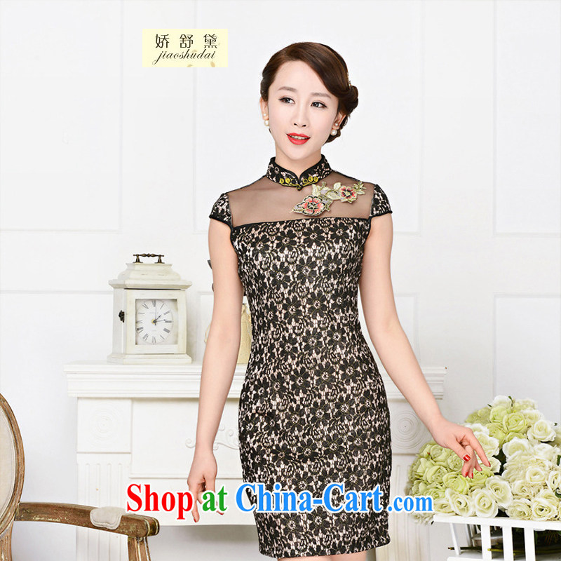 Air Shu Diane 2015 summer new women who decorated graphics thin lace dress boutique short-sleeved-tie everyday improved short flag 1590 black lace two flower Peony flower XL