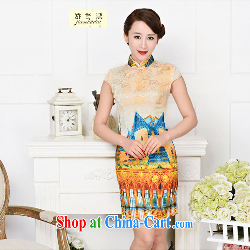 Air Shu Diane 2015 spring and summer new retro elegant qipao Korea jacquard silk cotton daily fashion improved cheongsam 1589 White Palace figure XXL