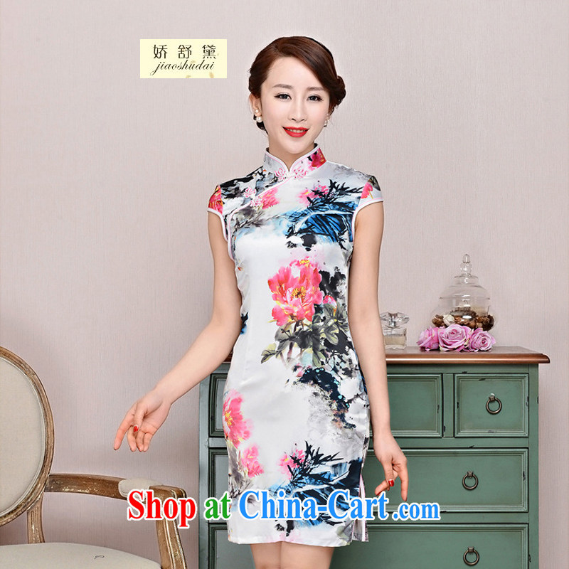 Air Shu Diane 2015 summer New Women Fashion dresses jacquard silk cotton dresses short dresses style low-power requirements 1587 cheongsam White Red Peony floral XL