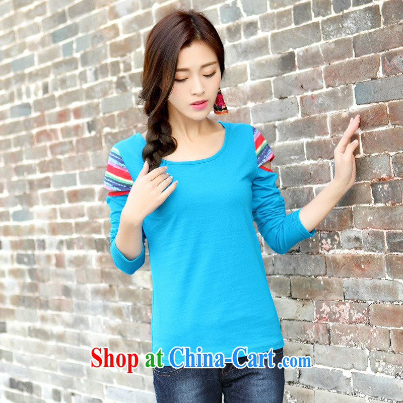 Ya-ting store spring 2015 collision-color your shoulders cultivating graphics thin literature, long-sleeved solid T shirt-style blouses blue 2 XL