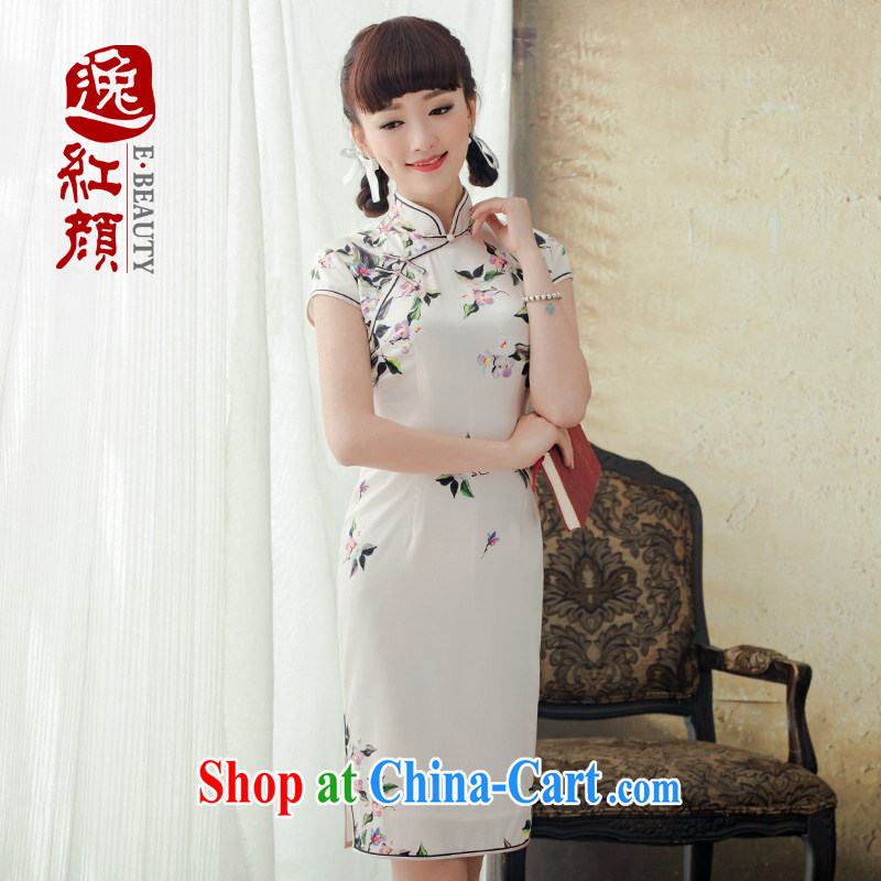 once and for all and proverbial hero, stamp duty is Silk Cheongsam short improved Spring Summer 2015 new retro dresses dresses ivory L