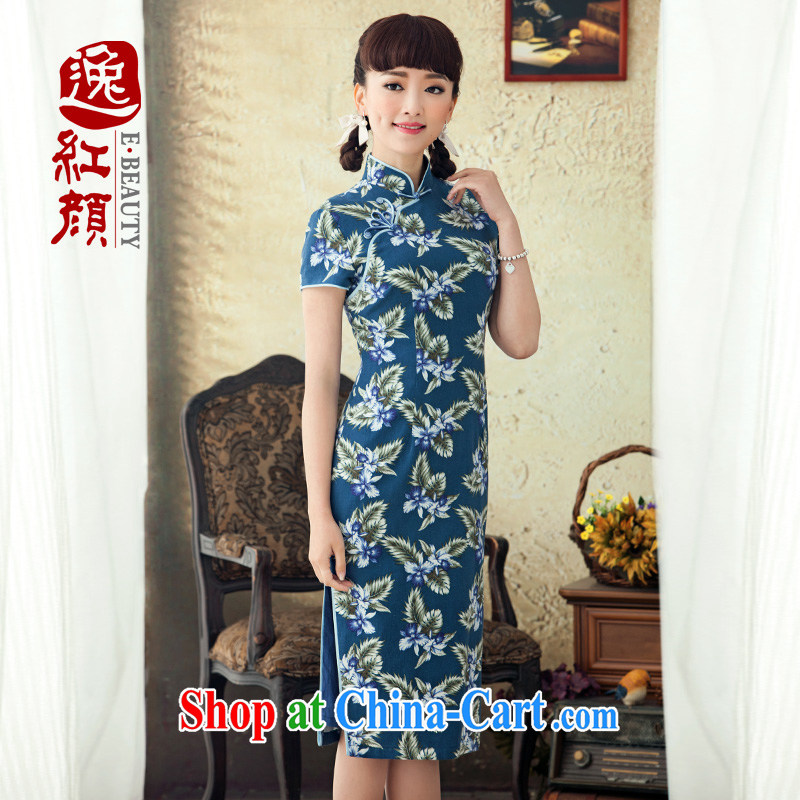 once and for all, proverbial hero film 2015 new, long cotton robes the commission improved spring and summer retro stamp cheongsam dress blue L