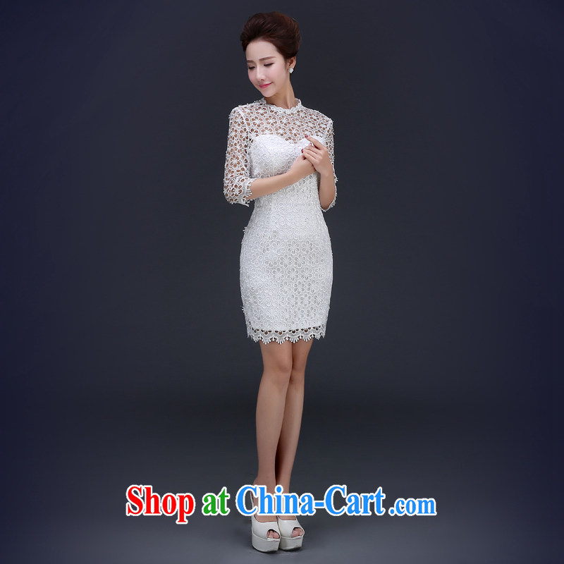 Jie MIA dresses 2015 spring short white lace bows service bridal dresses serving toast wedding stylish evening dress white XXL