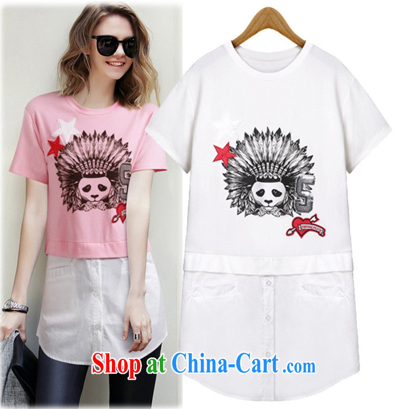 The European site 2015 summer women in Europe and the new round-collar short-sleeve Panda pattern, with spell spell color to T pension female pink L