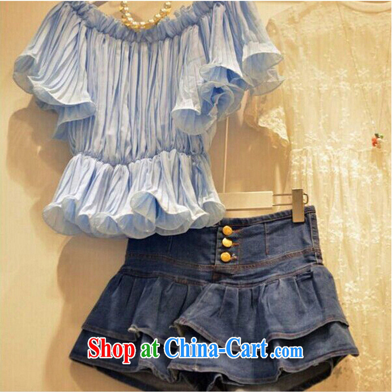 2015 new summer Korean female stylish casual snow woven flouncing sleeveless + denim dress pants two sets of picture color L