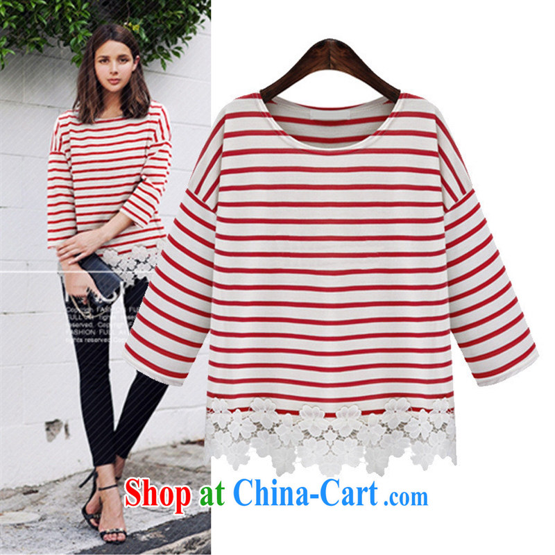 European and American women summer 2015 European site new relaxed round-collar cotton striped stitching lace lace T pension black XL