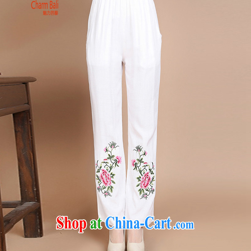 2015 summer beauty antique embroidered Chinese short-sleeved round neck with short, long, T-shirt B 920 white XXXL