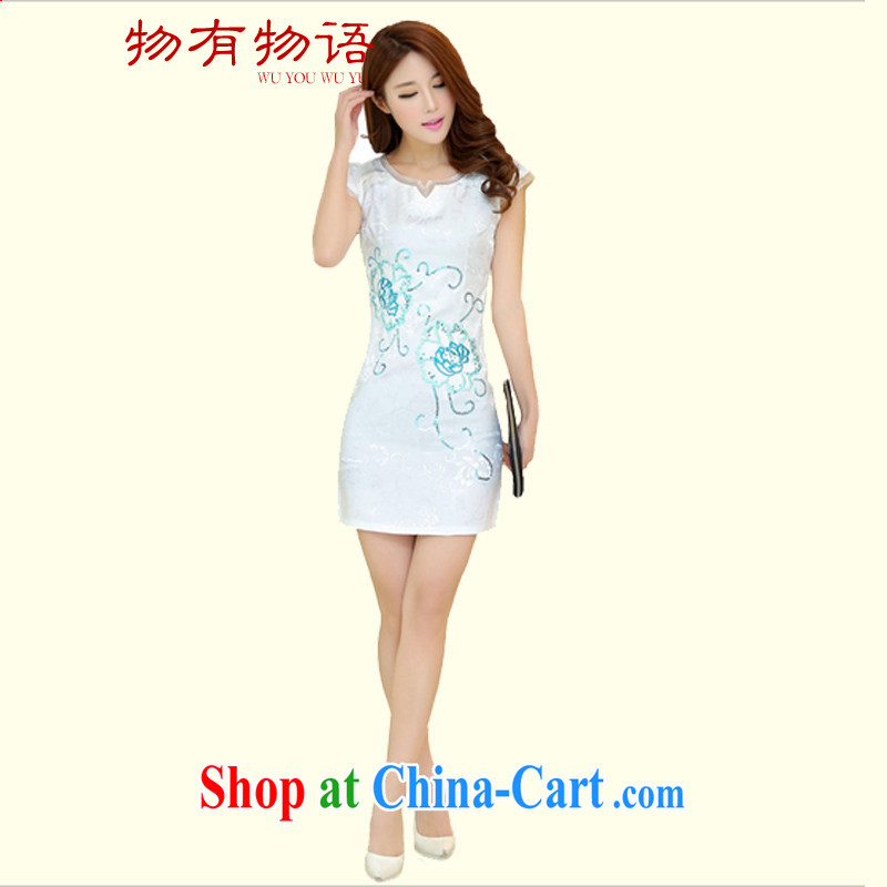 A Chinese qipao summer 2015 summer new, long cheongsam dress retro style white L 100 - 110 jack