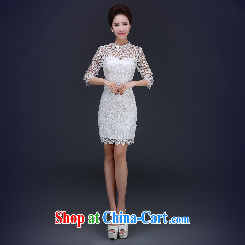 Jie MIA spring 2015 new marriages toast clothing cheongsam white short, cultivating Chinese qipao dresses short dresses white XXL