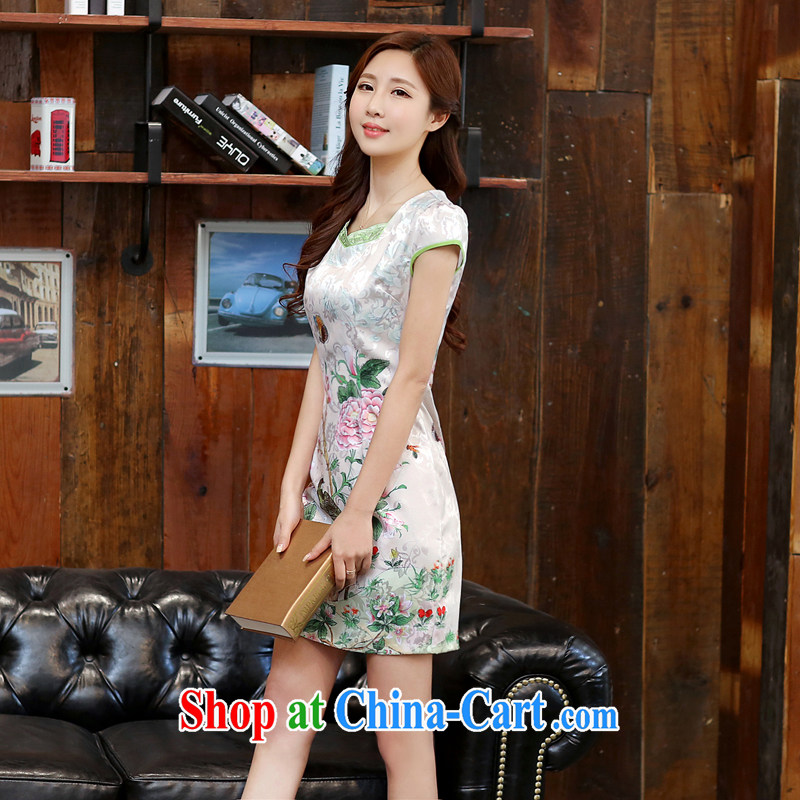 The Diane poetry 2015 new summer fine white Peony jacquard ice silk and cotton robes temperament female dresses 982 Dan Feng cited butterfly XXL