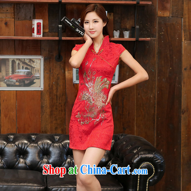 The Diane poetry 2015 new summer fine Phoenix jacquard ice silk and cotton robes temperament girls dresses bridal toast serving 983 red the Golden Phoenix figure XXL