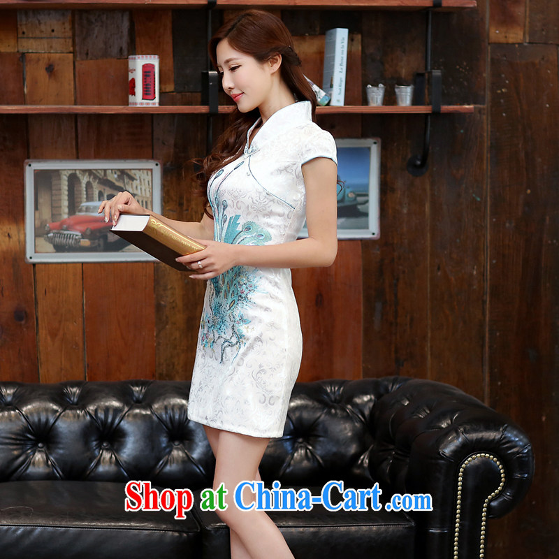 The Diane poetry 2015 new summer fine Phoenix jacquard ice silk and cotton robes temperament girls dresses bridal toast serving 983 Blue on white Phoenix figure XXL
