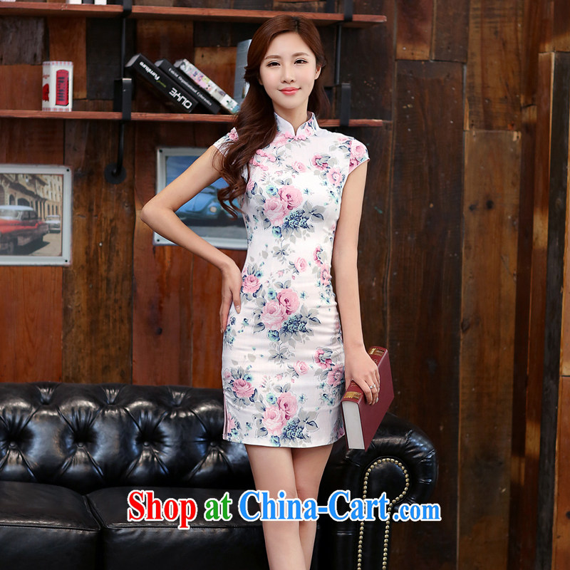 The Estee Lauder poetry 2015 new summer short-sleeved stamp dresses girls dresses low-power on the truck daily cheongsam dress 981 Heavenly Fragrance M