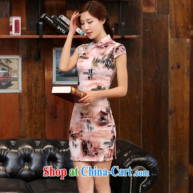 The Estee Lauder poetry 2015 new summer short-sleeved stamp dresses girls dresses low-power on the truck daily cheongsam dress 981 paintings, figure XXL