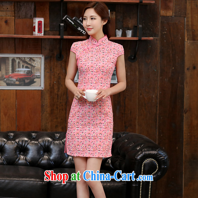 The Diane poetry 2015 new summer sense of short-sleeved stamp cheongsam stylish short-cultivating the forklift truck cheongsam dress 985 floral XXL _proposed to be purchased one size larger size_